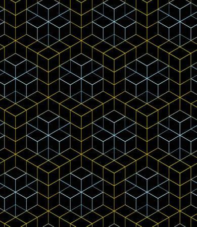 노란색과 파란색 선형 장식 상자, 배경색에 검은 색 선형 메쉬 패턴 3D geometric seamless pattern
