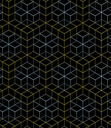 color linear mesh pattern on a black background,yellow and blue linear ornament boxes, background 3D geometric seamless pattern