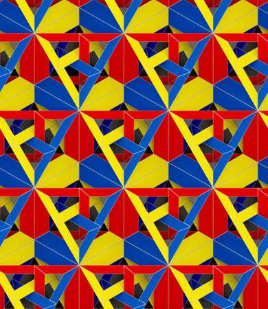 3d 일러스트 레이 션, 색깔 된 종이 접기 용지 원활한 장식 스톡 콘텐츠