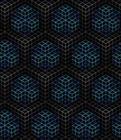 흰색과 파란색, 선형 장식 상자, 배경에 검은 색 선형 메쉬 패턴 3D geometric seamless pattern