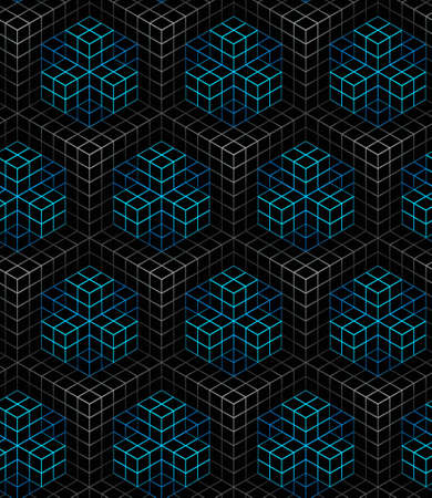 color linear mesh pattern on a black background,white and blue,linear ornament boxes, background 3D geometric seamless pattern