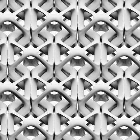 3d 일러스트 레이 션, 흰색 배경에 흰색 광택 추상 체인 원활한 패턴, 3D 벽지