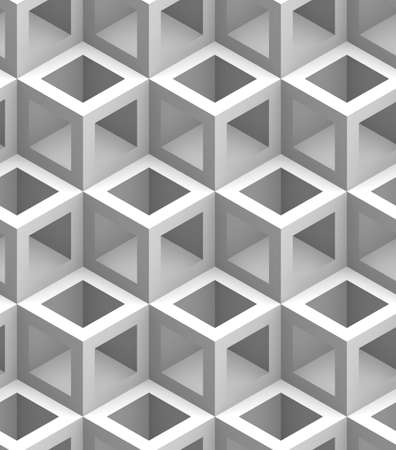 monochrome geometric 3D print, seamless decorative wallpaper