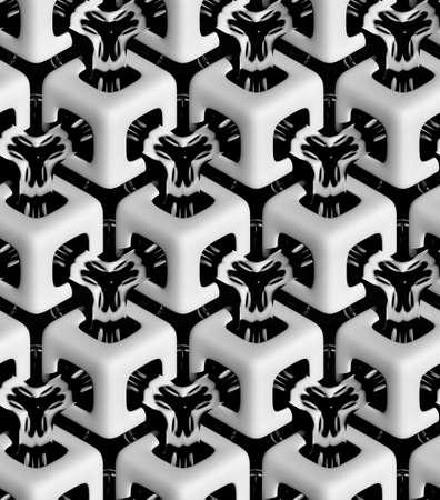 검은 배경, 3D 기하학적 배경에 3d 현실적인 질감, 회색과 크롬 큐브 스톡 콘텐츠