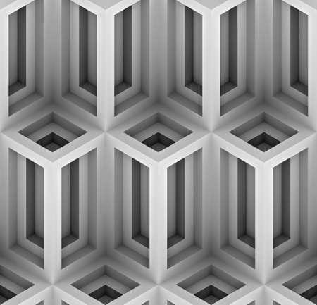 흑백 장식, 배경 3D 형상 원활한 패턴