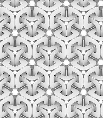 단색 기하학적 체인, 3D 인쇄, 원활한 장식 벽지