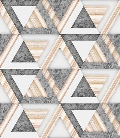 木製、白と灰色コンクリート シームレス パターン、角度のグラフィック、3 d イラスト背景イメージ 写真素材