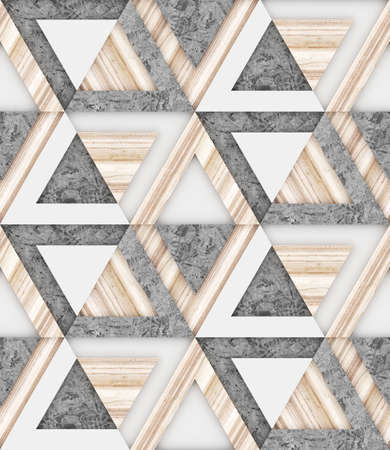 Wood, white and grey concrete seamless pattern , angular graphic, 3d illustration background image