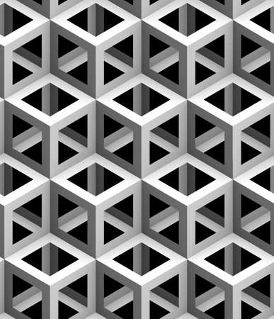 monochrome geometric 3d texture on a black background, seamless decorative wallpaper