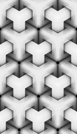 monochrome geometric 3d texture, objects with white glossy materials, seamless decorative wallpaper