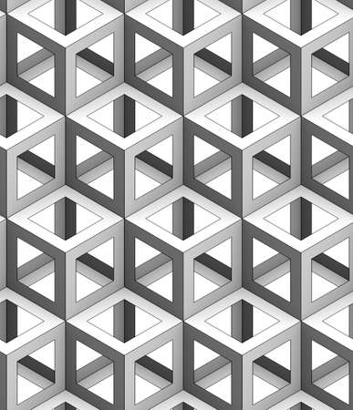 monochrome geometric 3d texture on a white background, seamless decorative wallpaper, black linear face