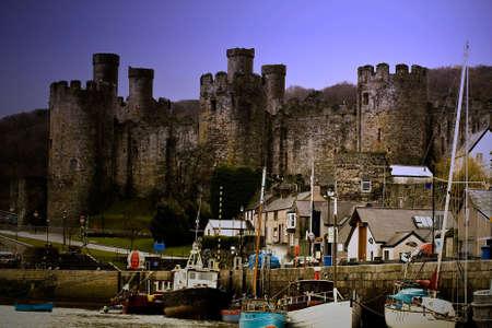 derelict: Derelict castle Harbour Stock Photo