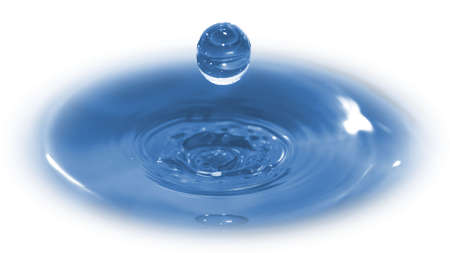 Hi-speed photo of a water drop frozen in time after it has impacted & rebounded a body of water.