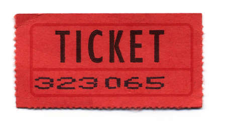 Close-Up of Red General Admission Ticket Isolated on White Background