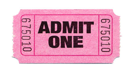 Pink General Admission Ticket Isolated on White Background