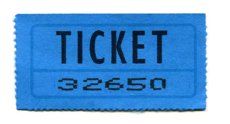 Blue General Admission Ticket Isolated on White Background.