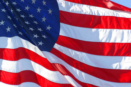 United States or American flag flapping in the wind