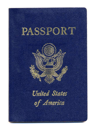 Close-up of New United States Passport Isolated on a White Background Stock Photo