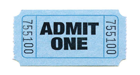 raffle: Close-Up of Light Blue General Admission Ticket Isolated on a White Background