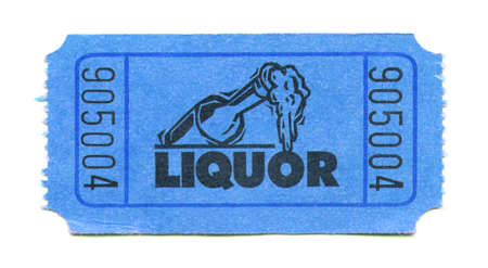 obtaining: Close-up of ticket for obtaining liquor at an event isolated on a white background Stock Photo
