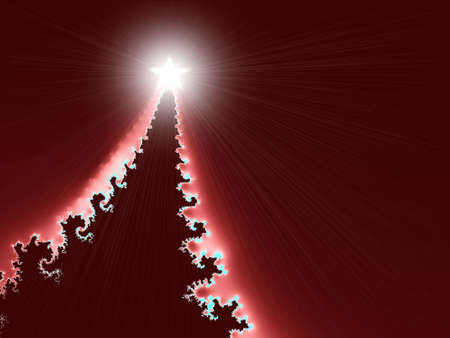 A high resolution, computer generated, fractal design that simulates a Christmas tree on an invitation or greeting card design for the Christmas holiday season. Stock Photo