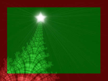 A high res, computer generated, fractal design that simulates a Christmas tree on an invitation or greeting card design for the Christmas holiday season. Stock Photo