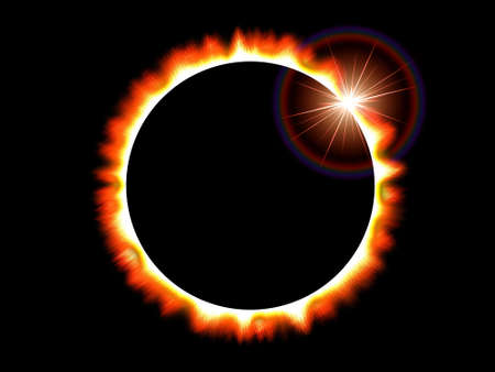 Computer generated image that depicts a solar eclipse of the sun on a black deep space background