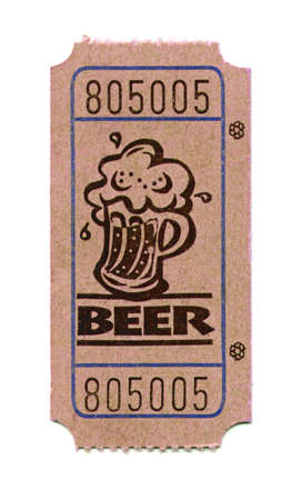 Close-up of ticket for obtaining beer at an event isolated on a white background