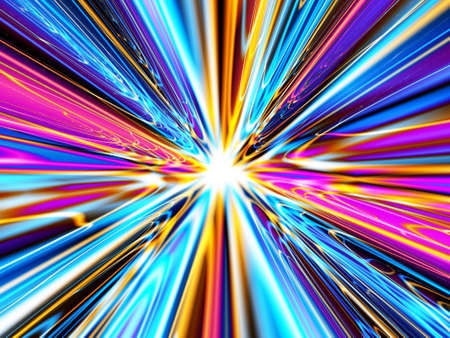 A high resolution, computer generated image that simulates heavenly light, the speed of light, a time warp, a wormhole or burst of colored light