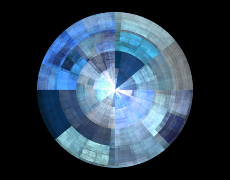 Blue abstract disc on black background