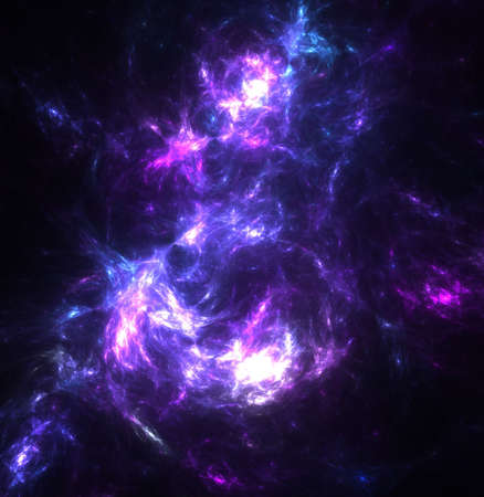 A high resolution, computer generated, fractal design that simulates a nebula with dust clouds, stars, and plasma.