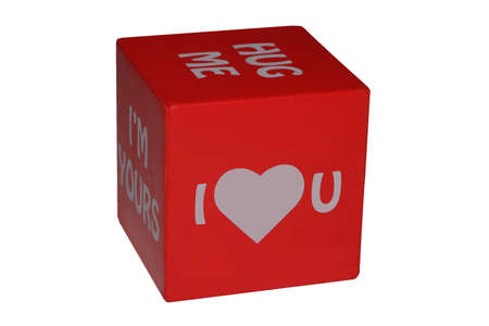 Valentines Day cube with cute captions. Stock Photo