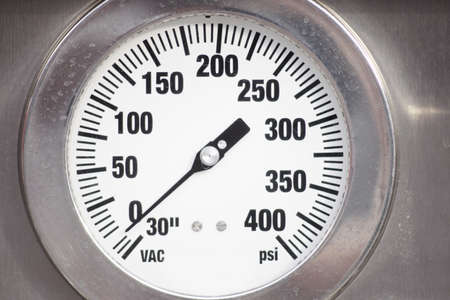 Close-up of water pressure gauge on fire engine truck