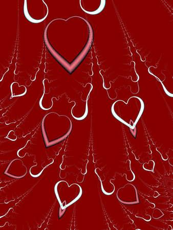 Una alta resolución, generados por computadora, diseño fractal que simula los corazones que caen del cielo que puede ser utilizado para fiestas y eventos especiales (como el Día de San Valentín, Día de la Madre, aniversarios y bodas).  Foto de archivo - 2512655