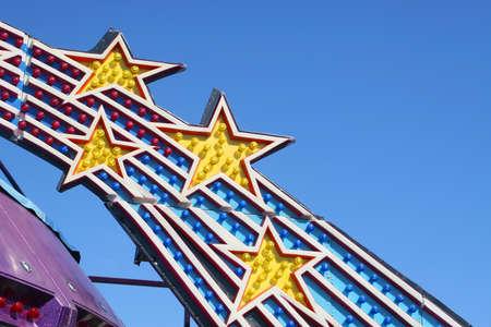 Closeup of Amusement Park Ride Lights