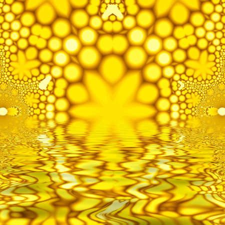 nirvana: High resolution fractal conceptualizing a retro background reflecting off of a pool of water.