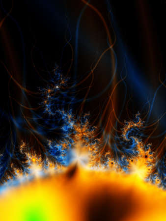 A high resolution, computer generated, fractal design that simulates the surface of the sun or a yellow star.
