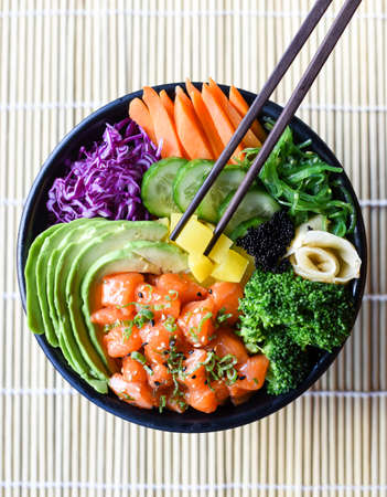 Healthy Japanese Salmon Poke Bowl Stock Photo