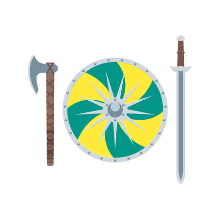 weapons: Weapons of the Vikings in flat style.