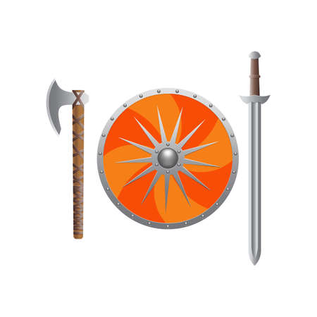 Weapons of the Vikings in realistic style.