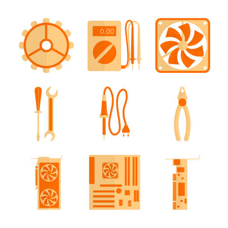 hardware repair: This icons set includes basic tools and hardware for computer repair