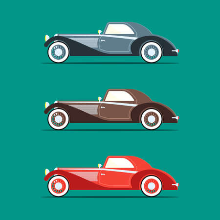 Retro car in a flat style, presents several options for the colors on a green background