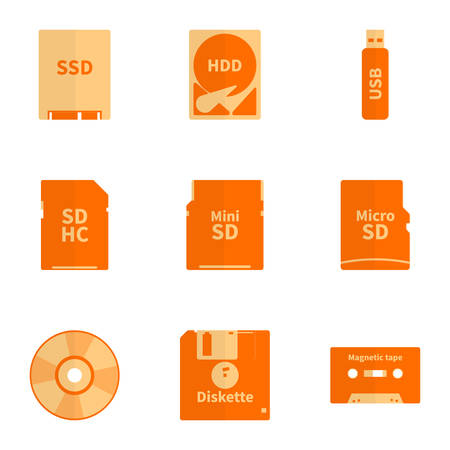 Icon set electronic data carriers in the style of a flat design