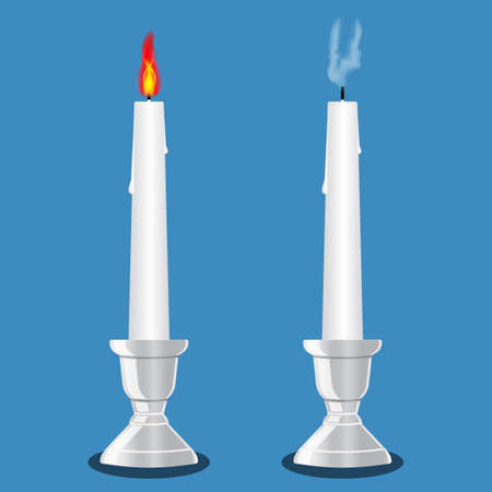 Burning and extinct candle in a candlestick