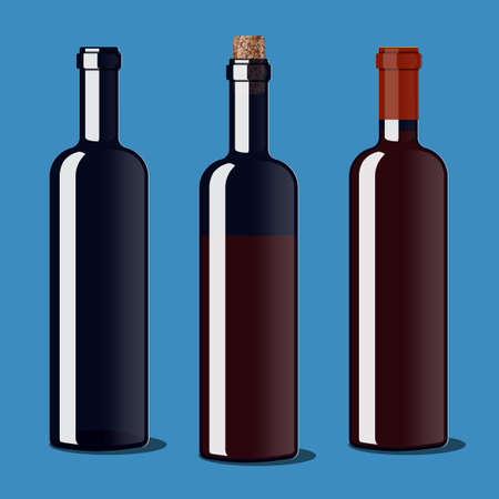 uncorked: An empty bottle, uncorked a bottle of wine, a bottle of wine closed Illustration