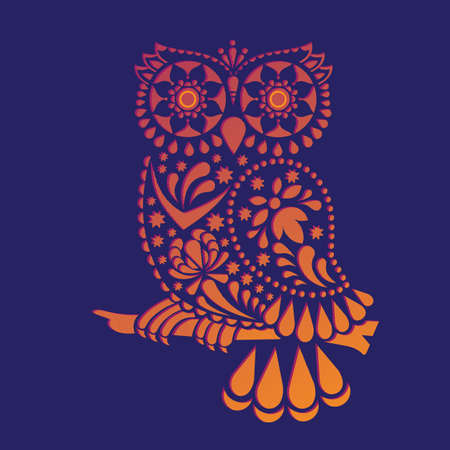 Ornamental hand-drawn owl on vintage background