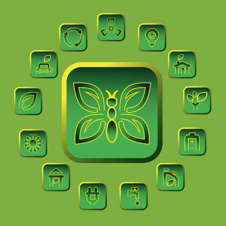 vector green eco icons set
