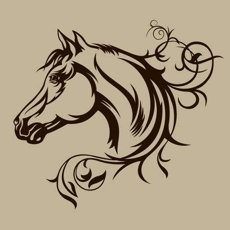 Black horse silhouette  イラスト・ベクター素材