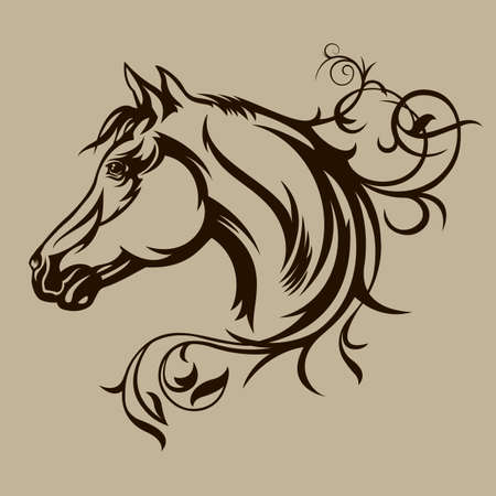 head of animal: Black horse silhouette Illustration
