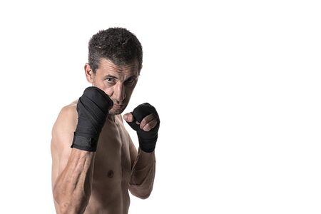 Muay Thai or kickboxer fighter in various poses. Portrait Imagens